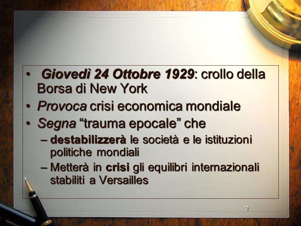 Giovedì 24 Ottobre 1929: crollo della Borsa di New York