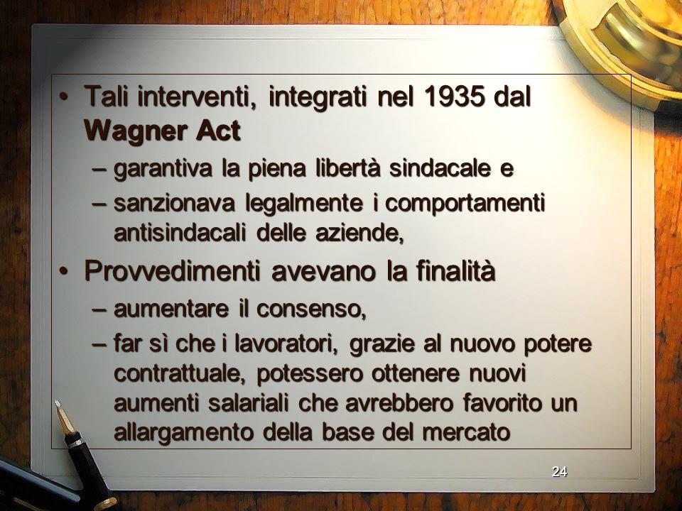 Tali interventi, integrati nel 1935 dal Wagner Act