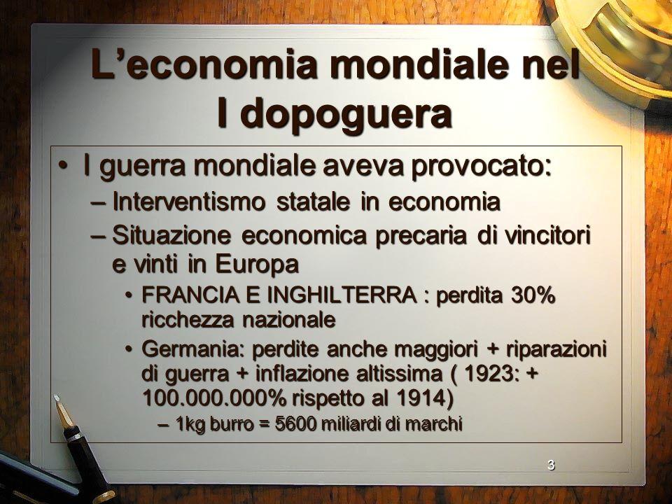 L'economia mondiale nel I dopoguera