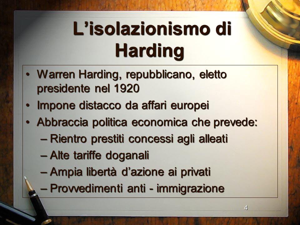 L'isolazionismo di Harding
