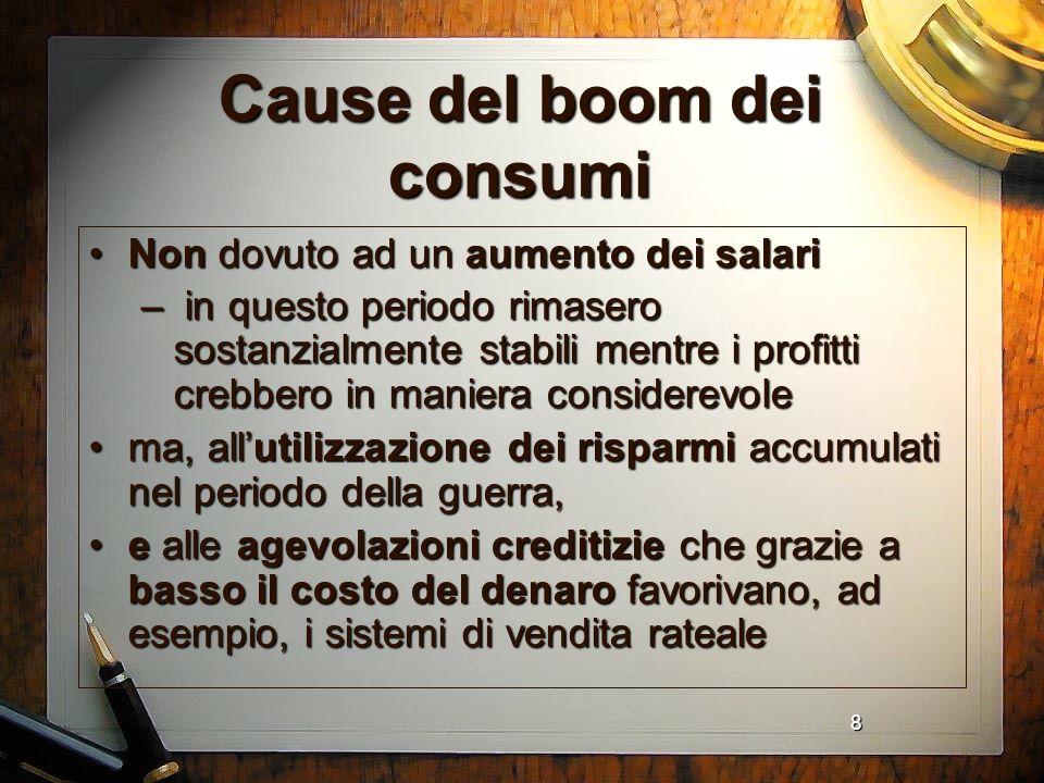 Cause del boom dei consumi