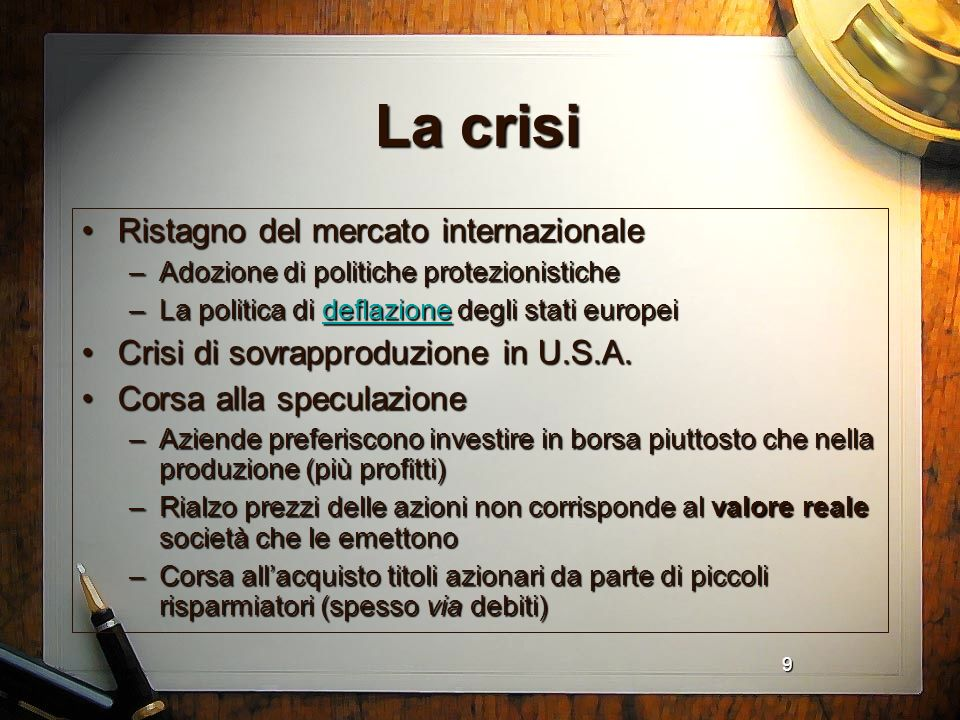 La crisi Ristagno del mercato internazionale