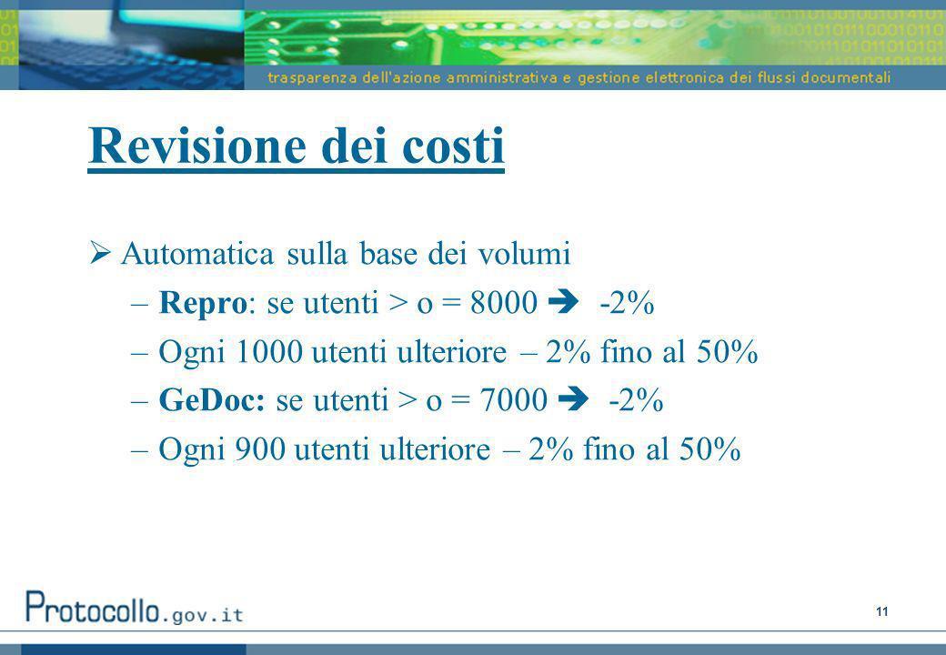 Revisione dei costi Automatica sulla base dei volumi