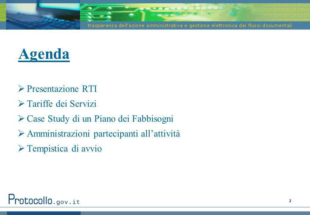 Agenda Presentazione RTI Tariffe dei Servizi