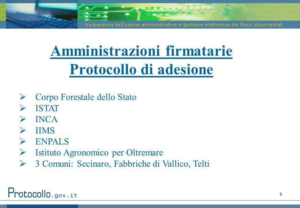Amministrazioni firmatarie Protocollo di adesione