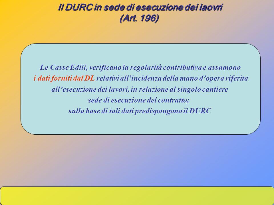 Il DURC in sede di esecuzione dei laovri (Art. 196)