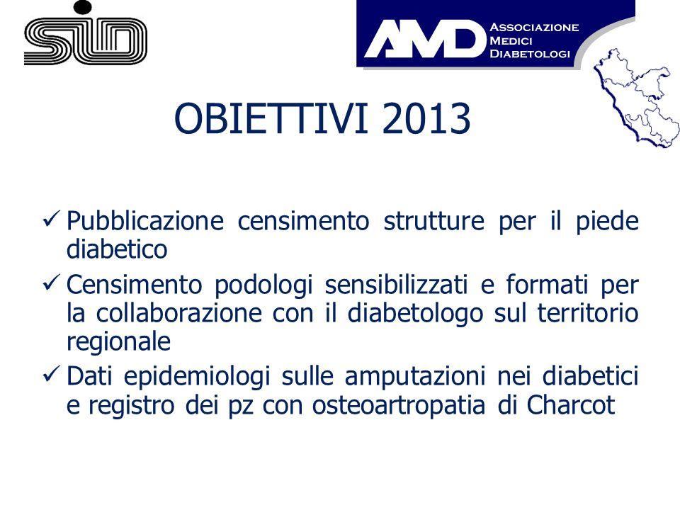 OBIETTIVI 2013 Pubblicazione censimento strutture per il piede diabetico.