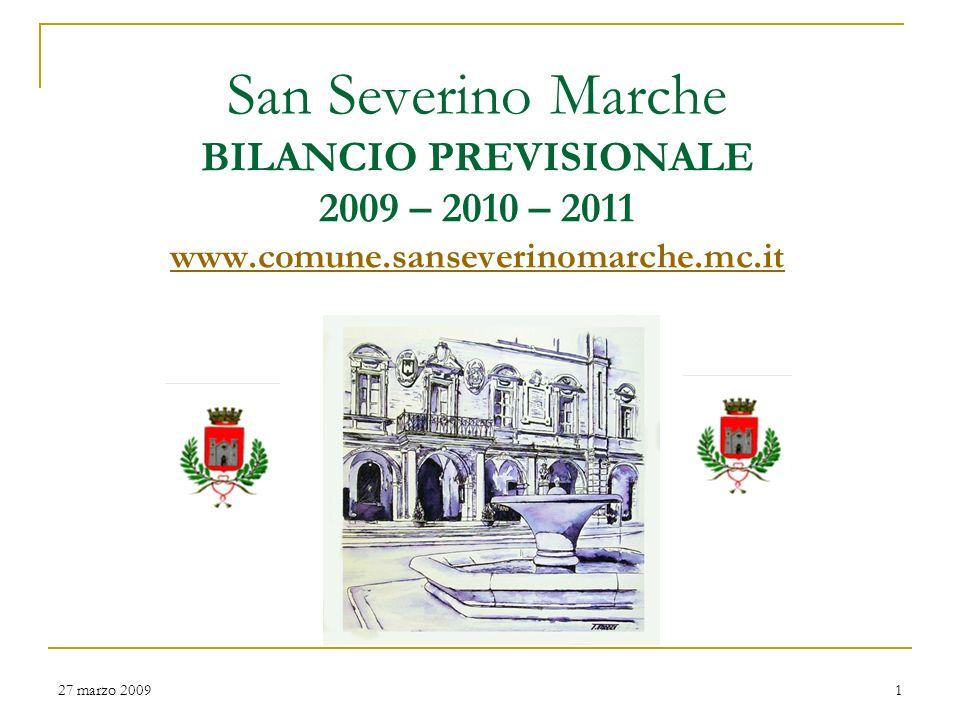 San Severino Marche BILANCIO PREVISIONALE 2009 – 2010 – 2011 www