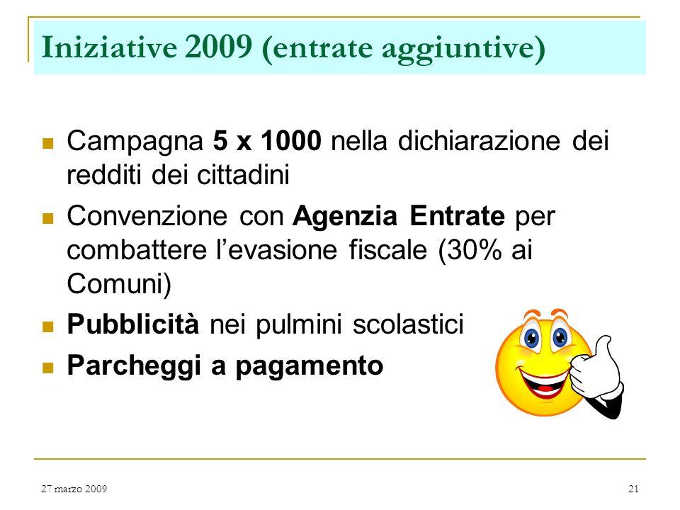 Iniziative 2009 (entrate aggiuntive)