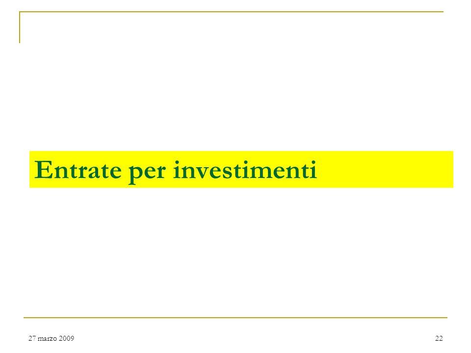 Entrate per investimenti