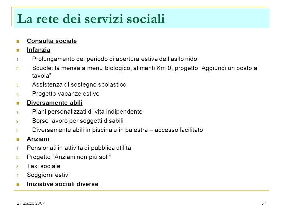 La rete dei servizi sociali