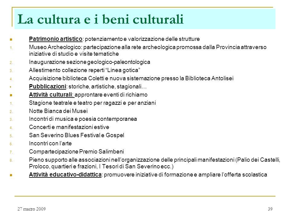 La cultura e i beni culturali