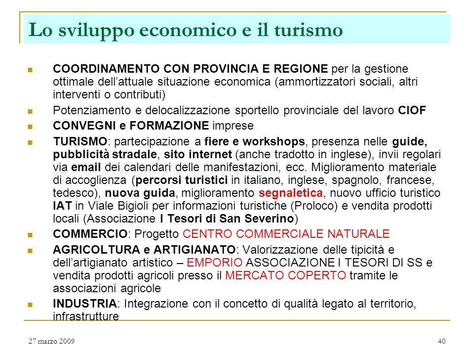 Lo sviluppo economico e il turismo