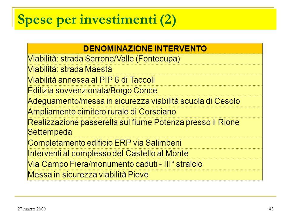 Spese per investimenti (2)