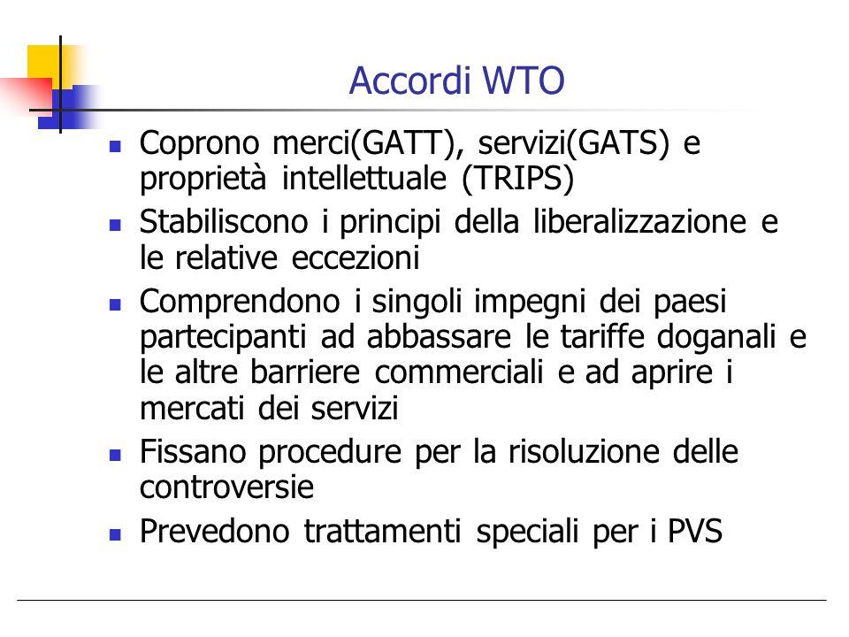 Accordi WTO Coprono merci(GATT), servizi(GATS) e proprietà intellettuale (TRIPS)