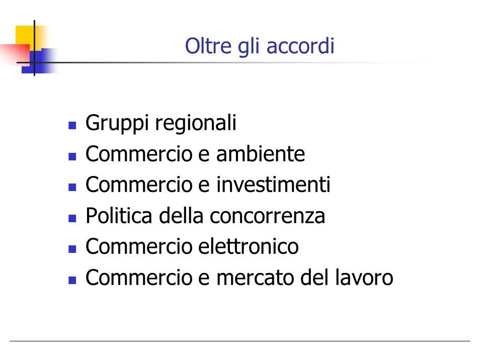 Oltre gli accordi Gruppi regionali. Commercio e ambiente. Commercio e investimenti. Politica della concorrenza.