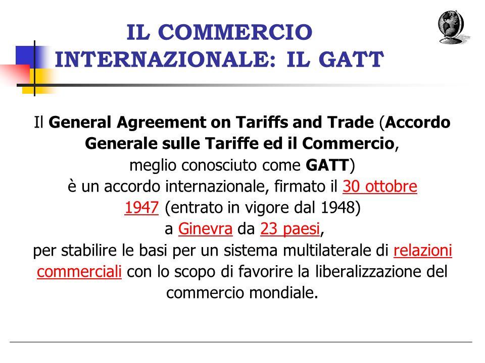 IL COMMERCIO INTERNAZIONALE: IL GATT