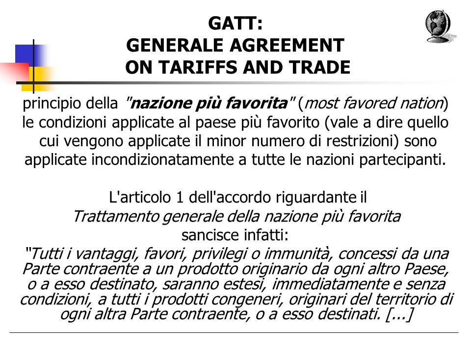 GATT: GENERALE AGREEMENT