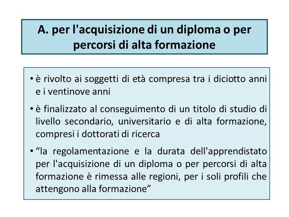 A. per l acquisizione di un diploma o per percorsi di alta formazione