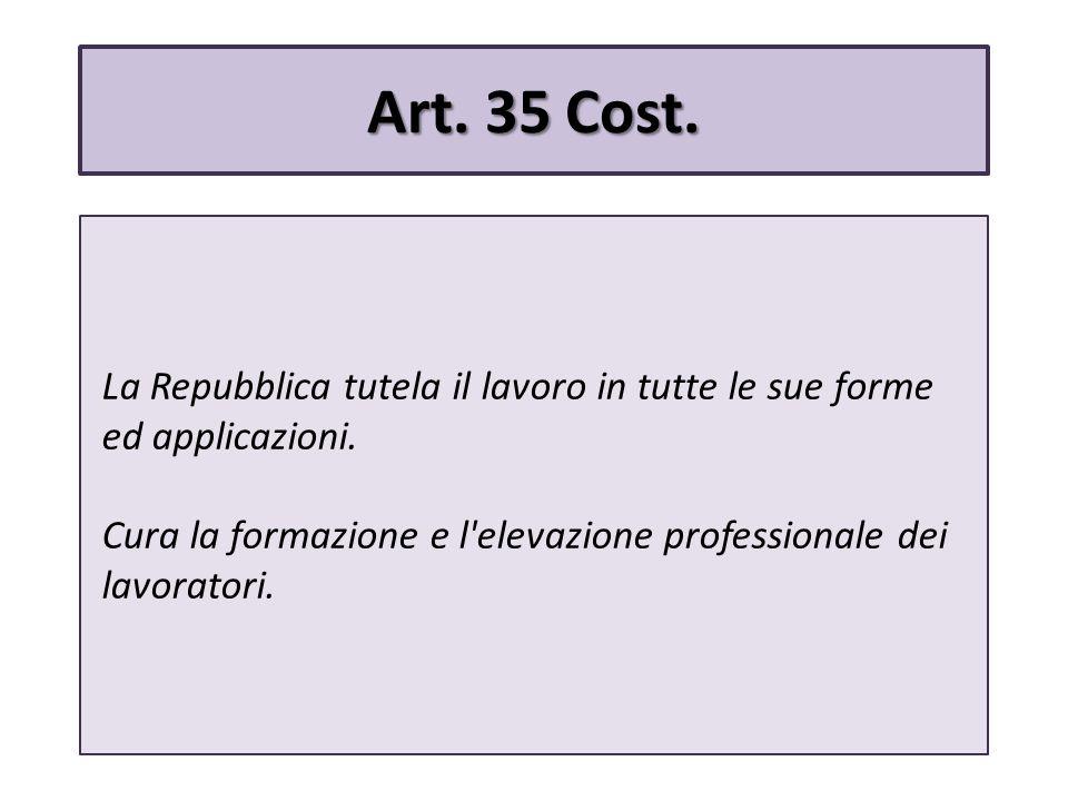 Art. 35 Cost. La Repubblica tutela il lavoro in tutte le sue forme ed applicazioni.