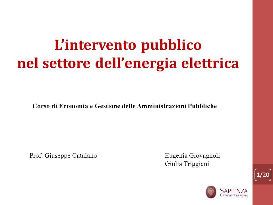 L'intervento pubblico nel settore dell'energia elettrica