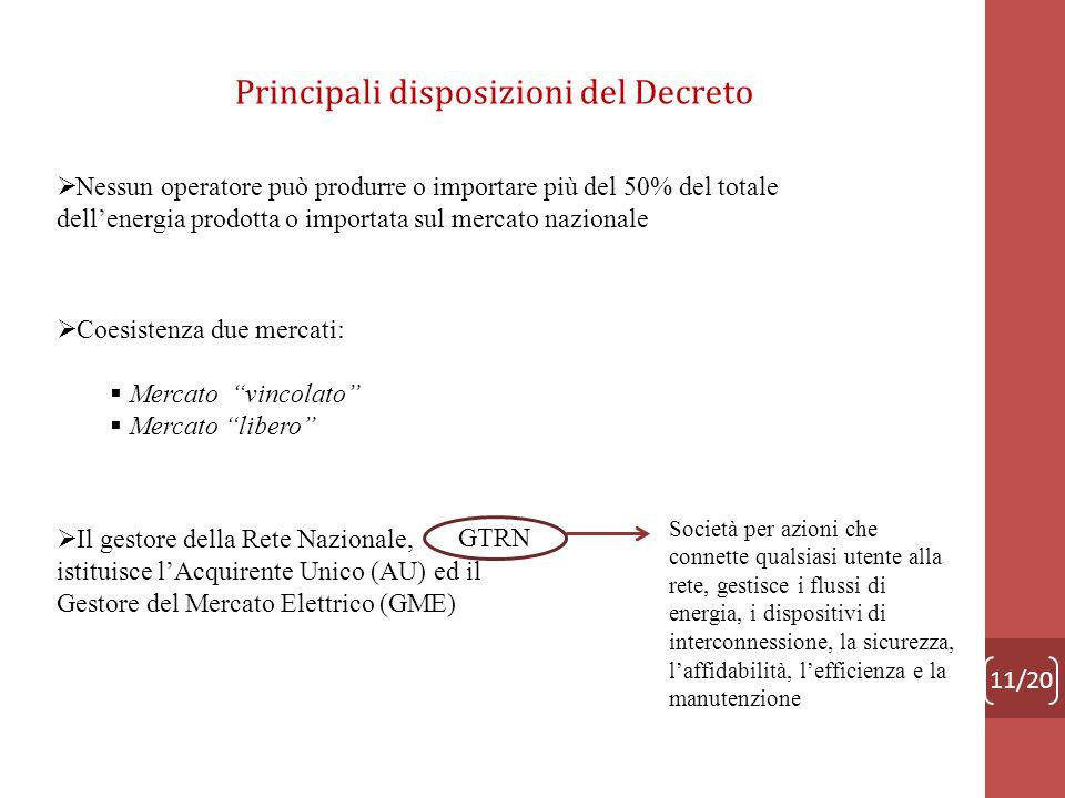 Principali disposizioni del Decreto