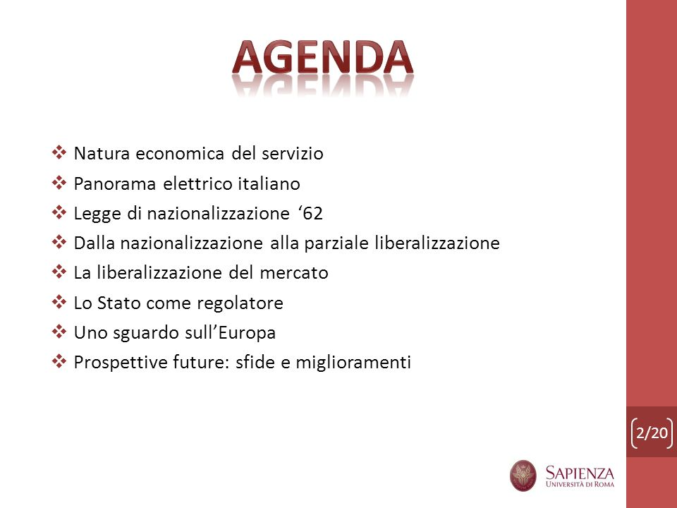 Agenda Natura economica del servizio Panorama elettrico italiano