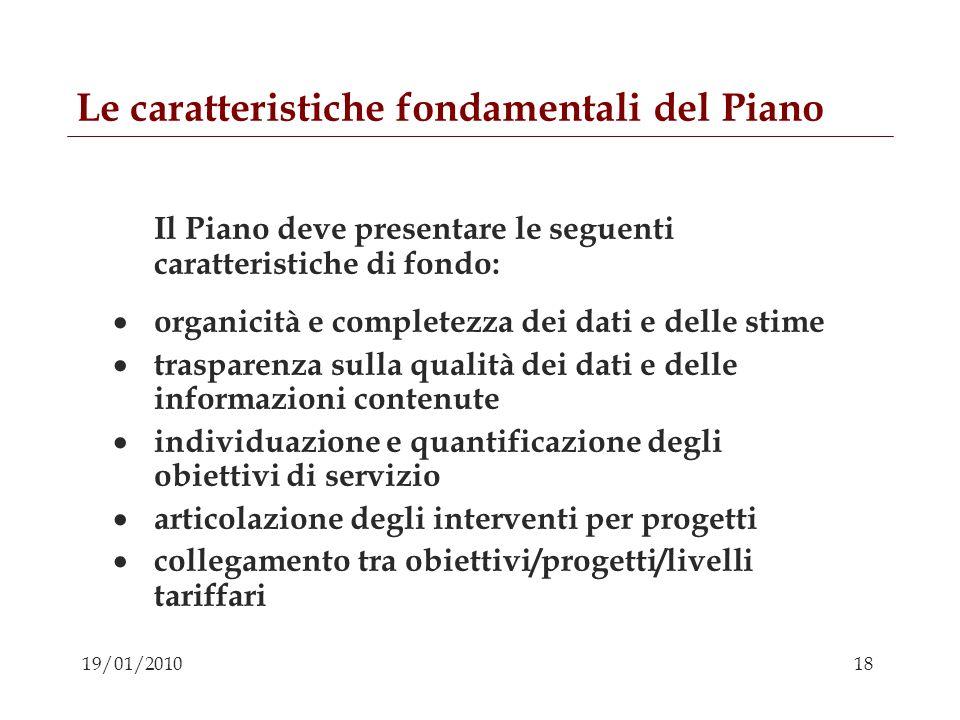 Le caratteristiche fondamentali del Piano