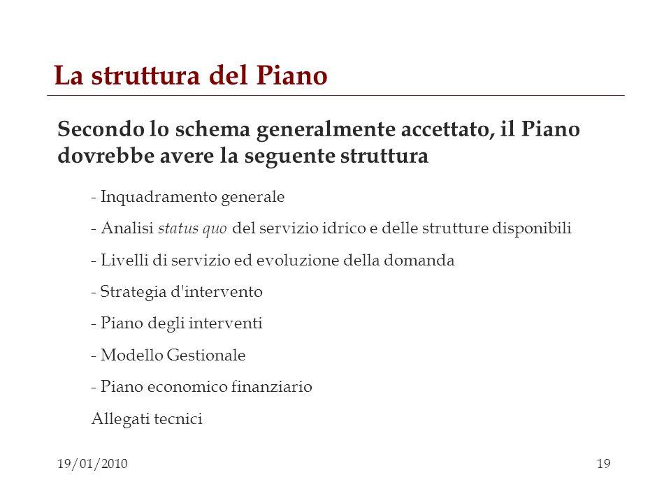 La struttura del Piano Secondo lo schema generalmente accettato, il Piano dovrebbe avere la seguente struttura.