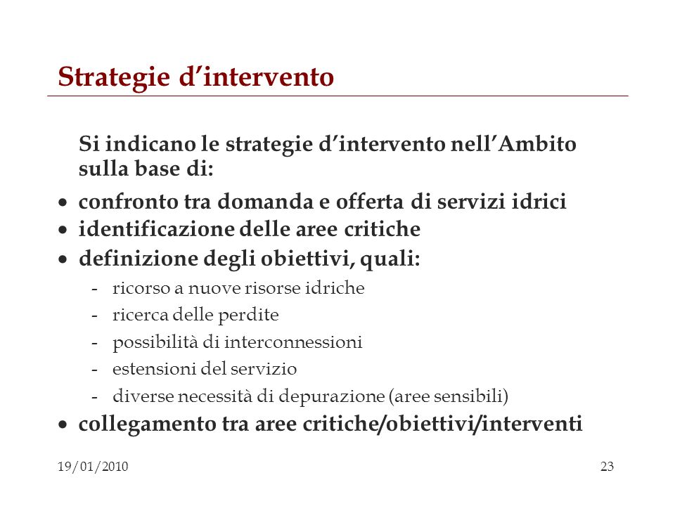 Strategie d'intervento