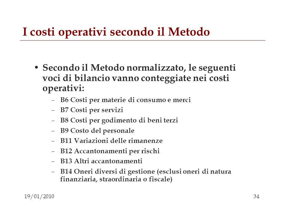 I costi operativi secondo il Metodo