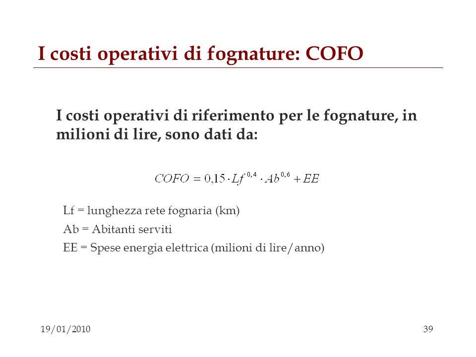 I costi operativi di fognature: COFO