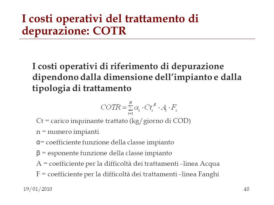 I costi operativi del trattamento di depurazione: COTR
