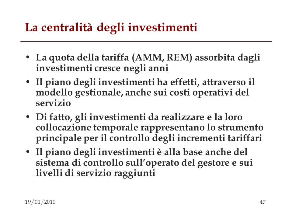 La centralità degli investimenti