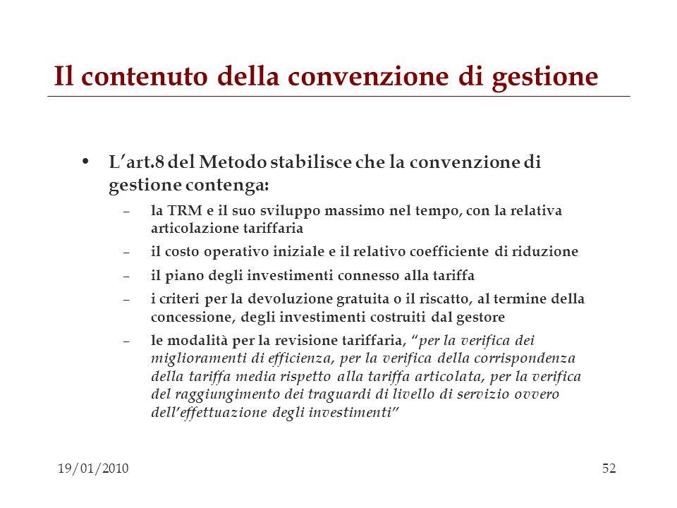 Il contenuto della convenzione di gestione
