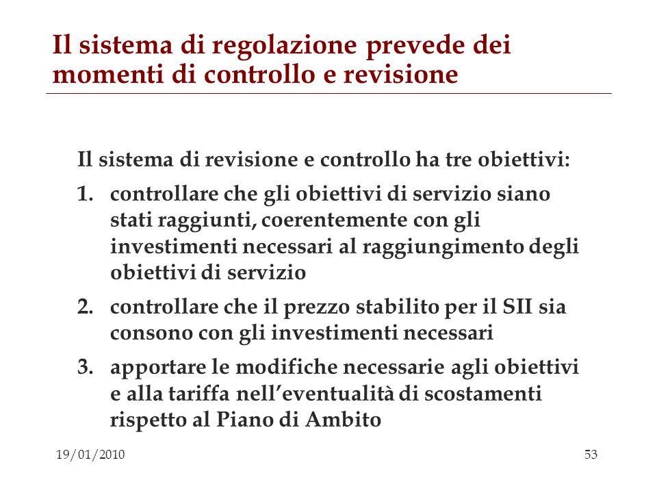 Il sistema di regolazione prevede dei momenti di controllo e revisione