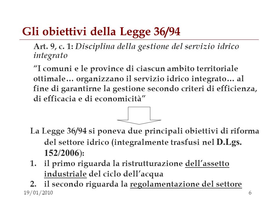 Gli obiettivi della Legge 36/94