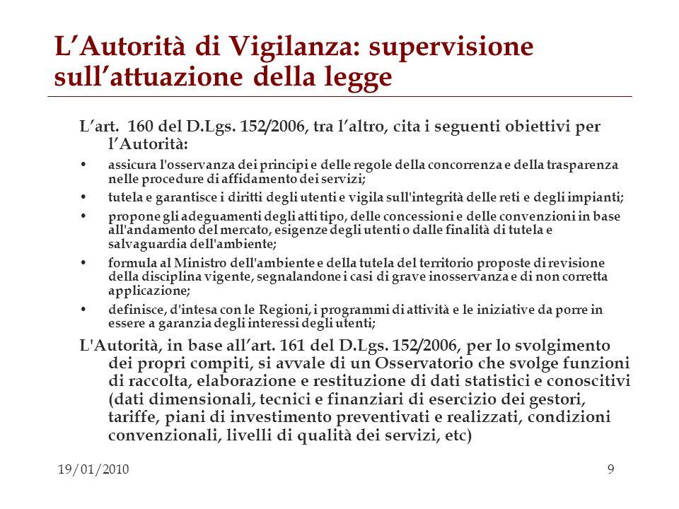 L'Autorità di Vigilanza: supervisione sull'attuazione della legge