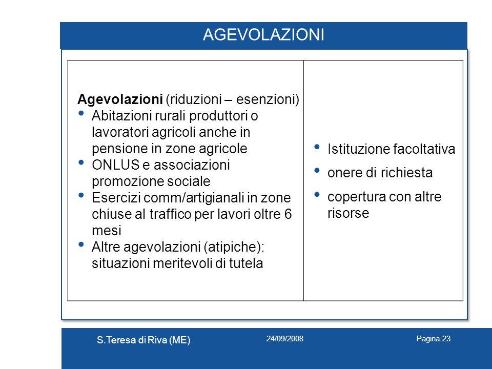 AGEVOLAZIONI Agevolazioni (riduzioni – esenzioni)