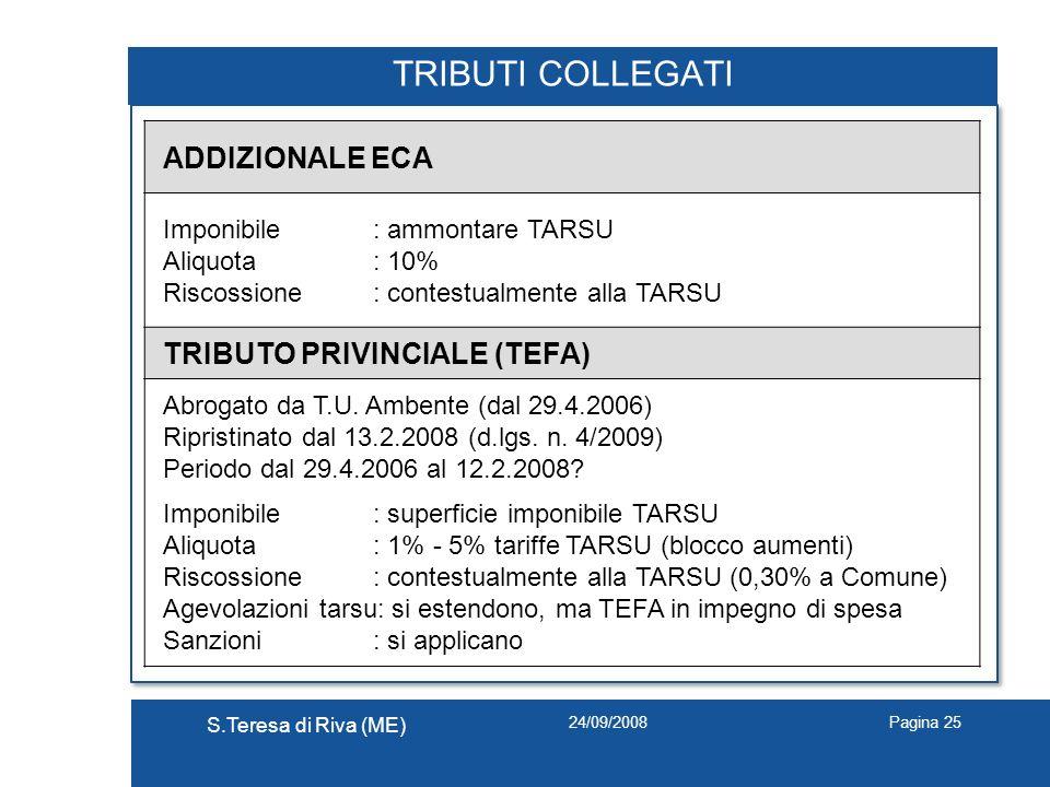 TRIBUTI COLLEGATI ADDIZIONALE ECA TRIBUTO PRIVINCIALE (TEFA)