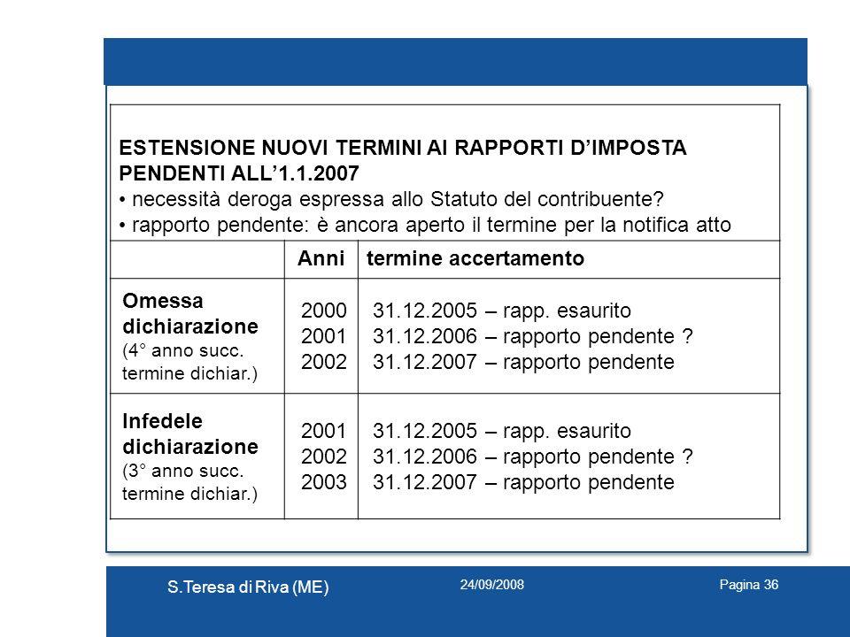 ESTENSIONE NUOVI TERMINI AI RAPPORTI D'IMPOSTA PENDENTI ALL'1.1.2007