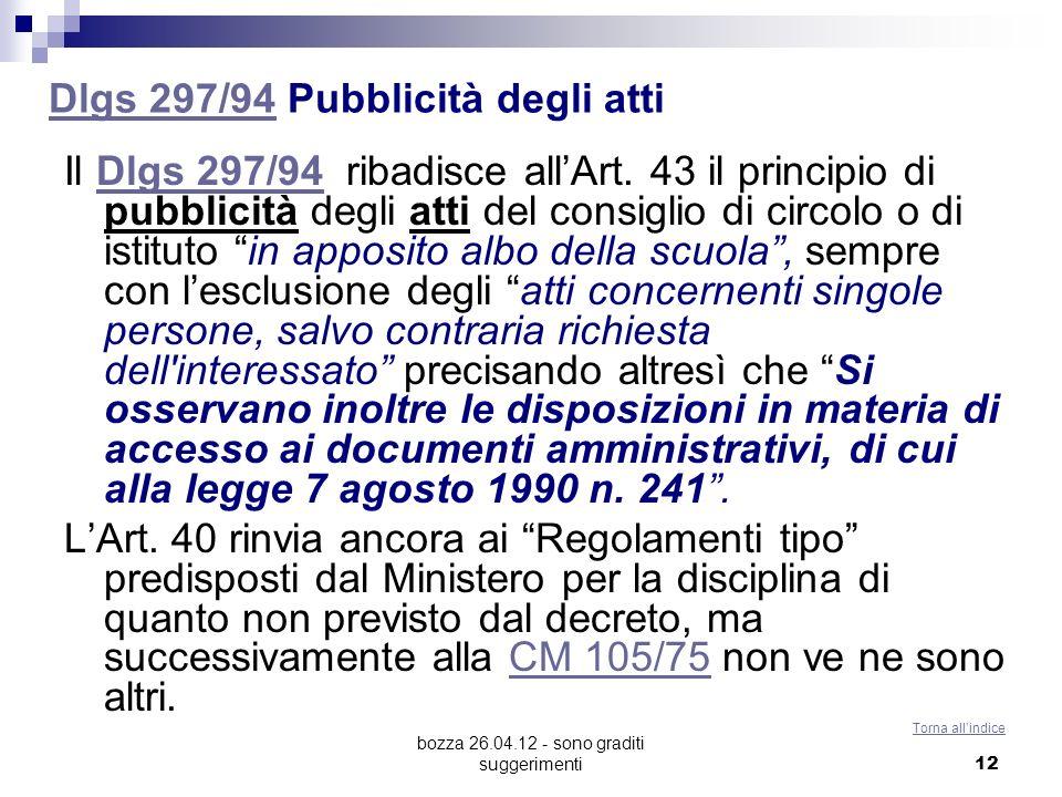 Dlgs 297/94 Pubblicità degli atti