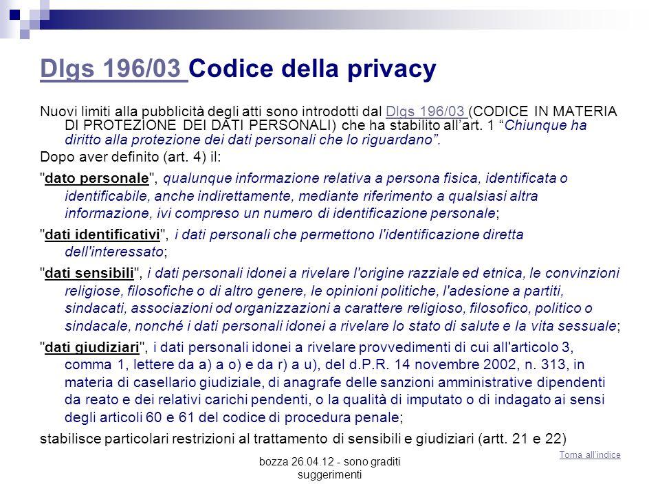 Dlgs 196/03 Codice della privacy
