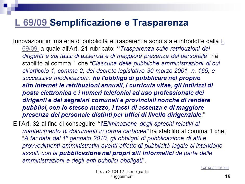 L 69/09 Semplificazione e Trasparenza