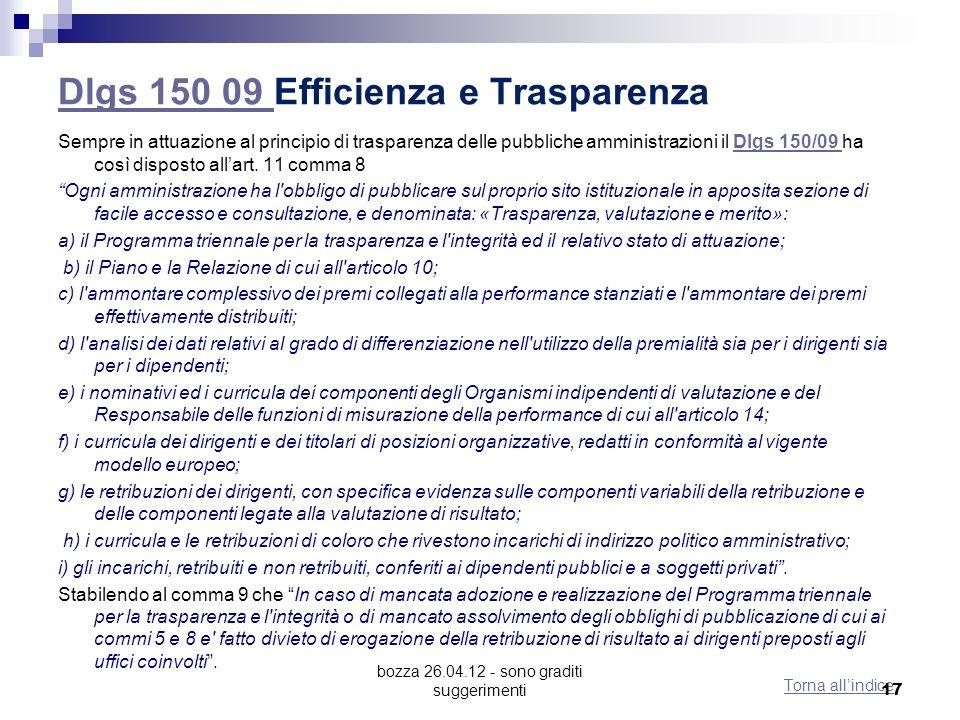 Dlgs 150 09 Efficienza e Trasparenza