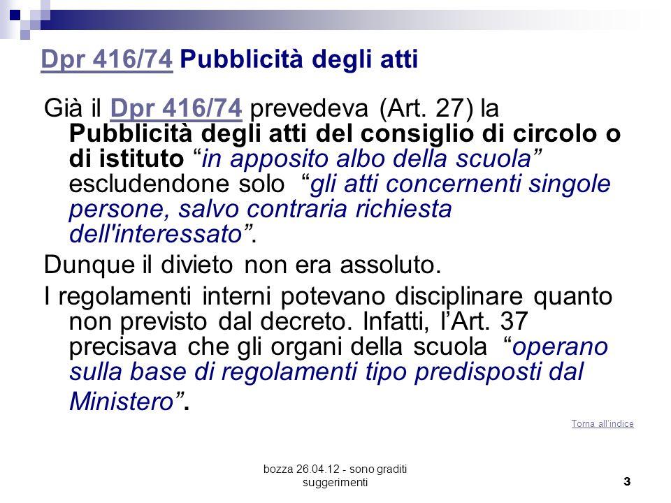 Dpr 416/74 Pubblicità degli atti