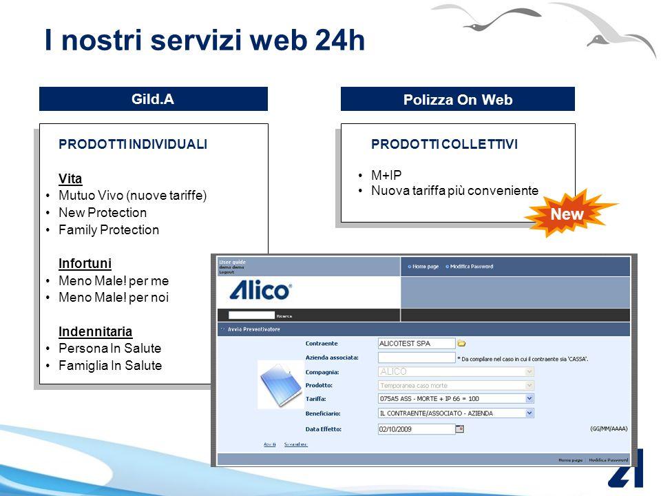 I nostri servizi web 24h New Gild.A Polizza On Web