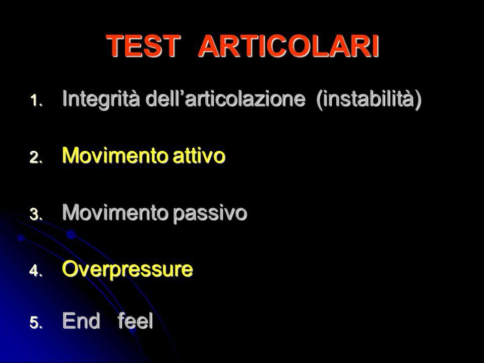 TEST ARTICOLARI Integrità dell'articolazione (instabilità)