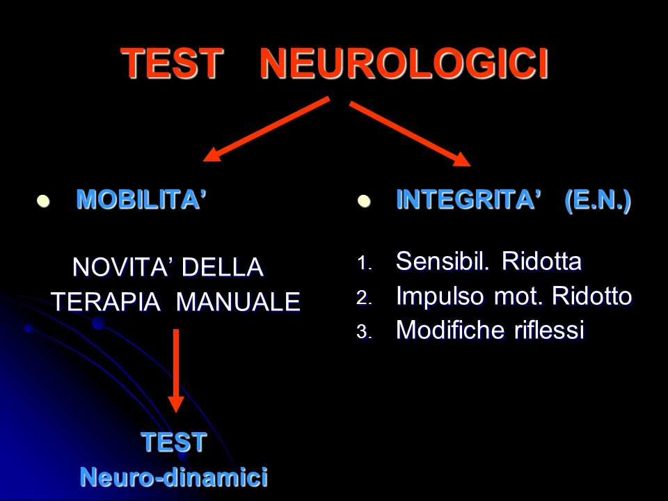 TEST NEUROLOGICI MOBILITA' NOVITA' DELLA TERAPIA MANUALE TEST