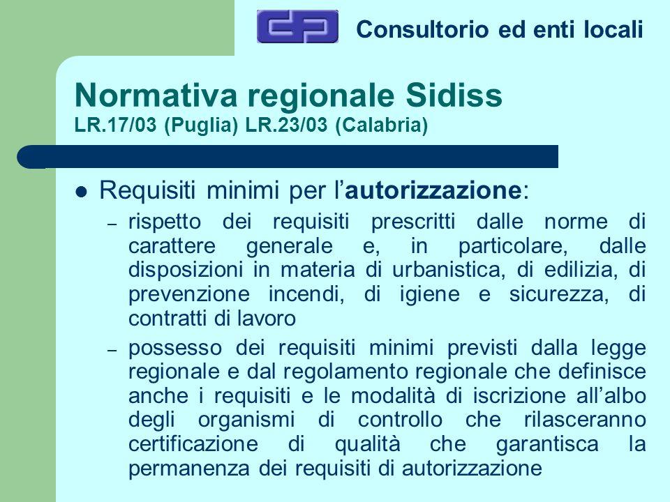 Normativa regionale Sidiss LR.17/03 (Puglia) LR.23/03 (Calabria)